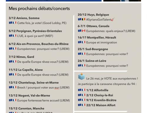 AGENDA – Nos prochains débats (décembre 2018)