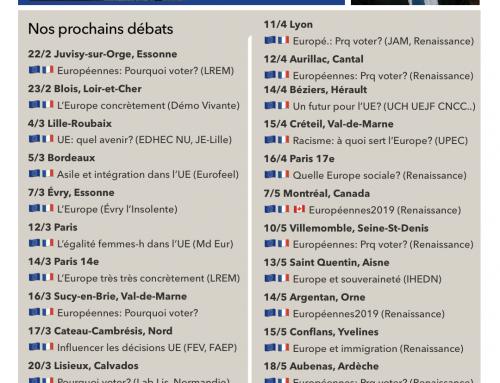 AGENDA – Nos prochains débats (avril-mai 2019)
